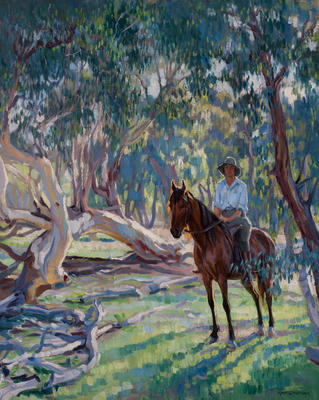 In the bush (Dorothy Richmond on horseback)