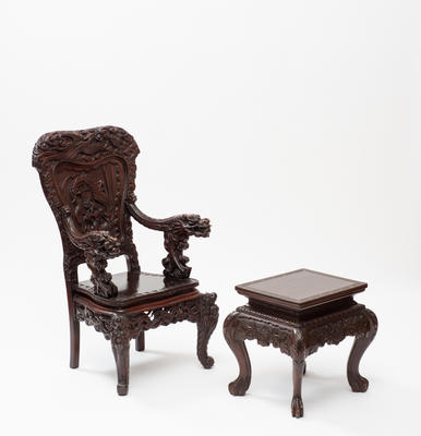 Carved chair and side table