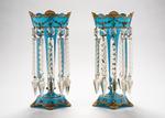 Opaque Blue Lustre Vases